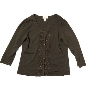 Loft Lace Beaded Brown Cardigan Small